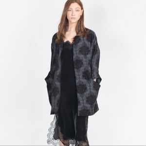 NWT Zara Grey Black Damask Coat Jacket One Size M